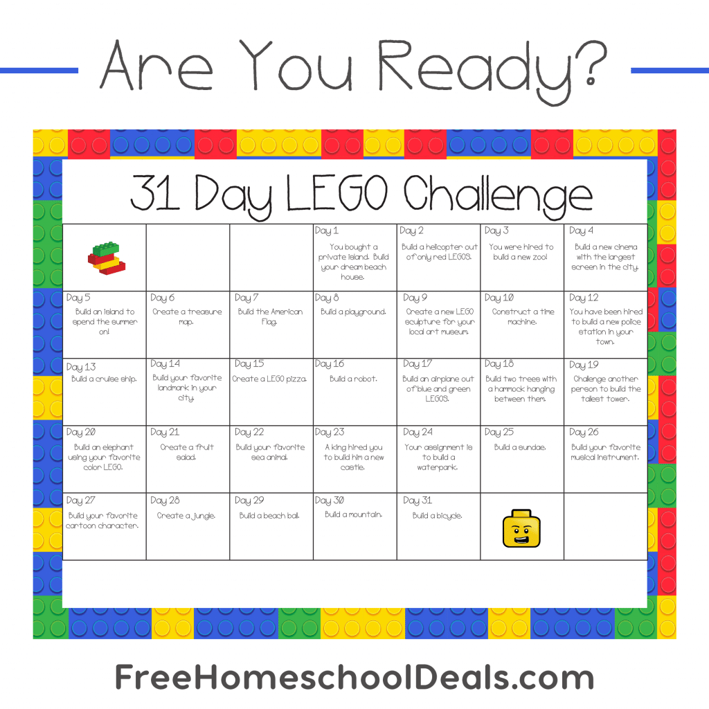 Free Printable 31 Day Lego Challenge Instant Download