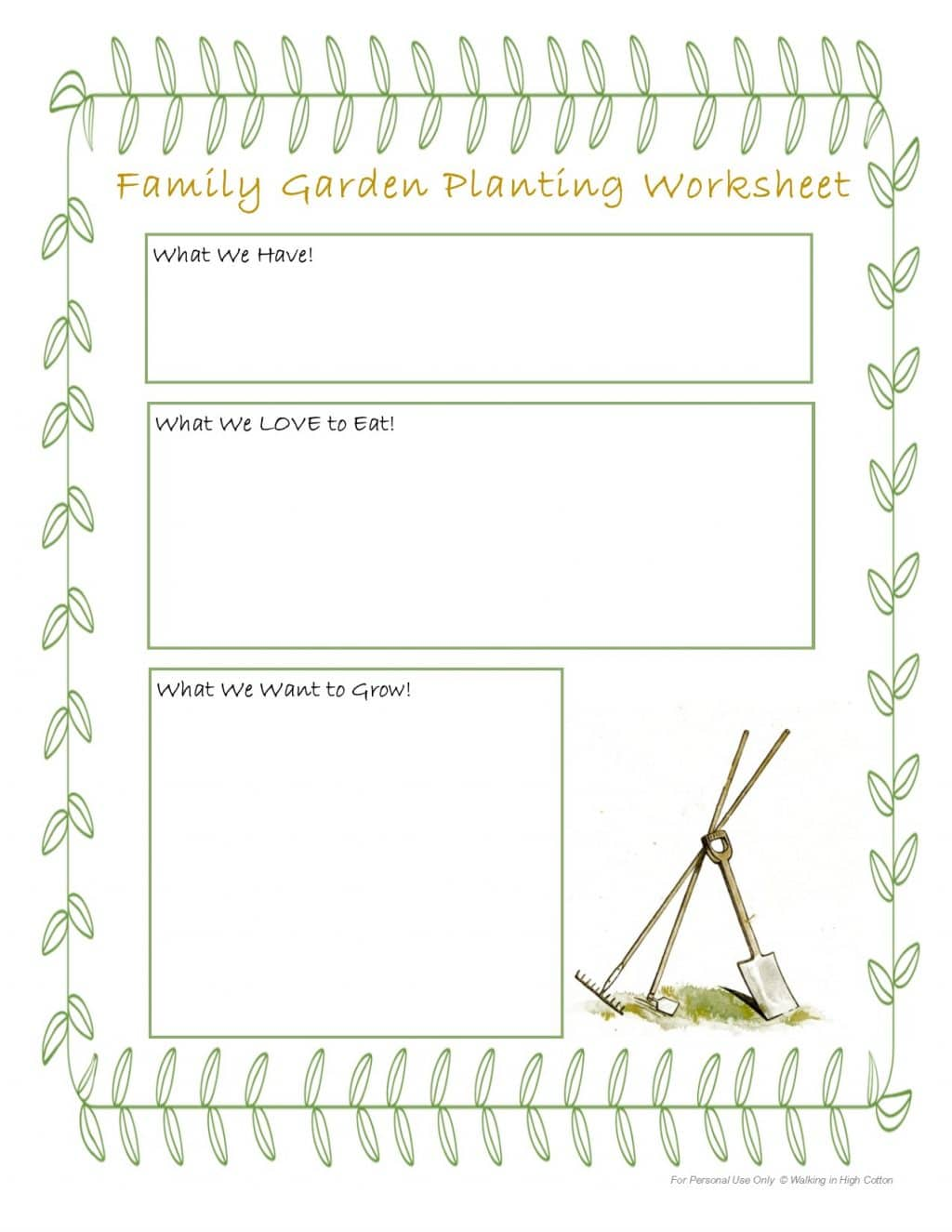 Free Family Gardening Planting Worksheet