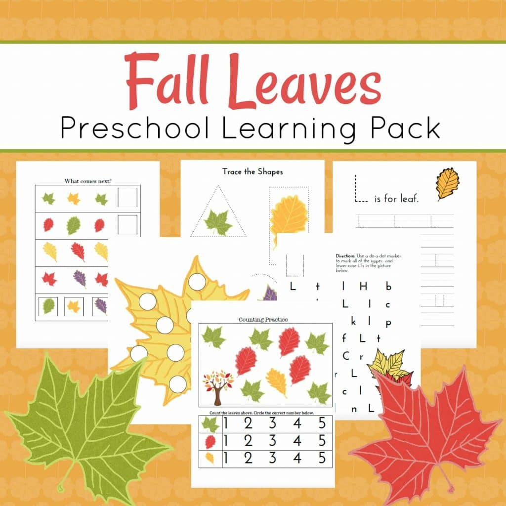 Free Fall Leaves Preschool Learning Pack 27 Pages