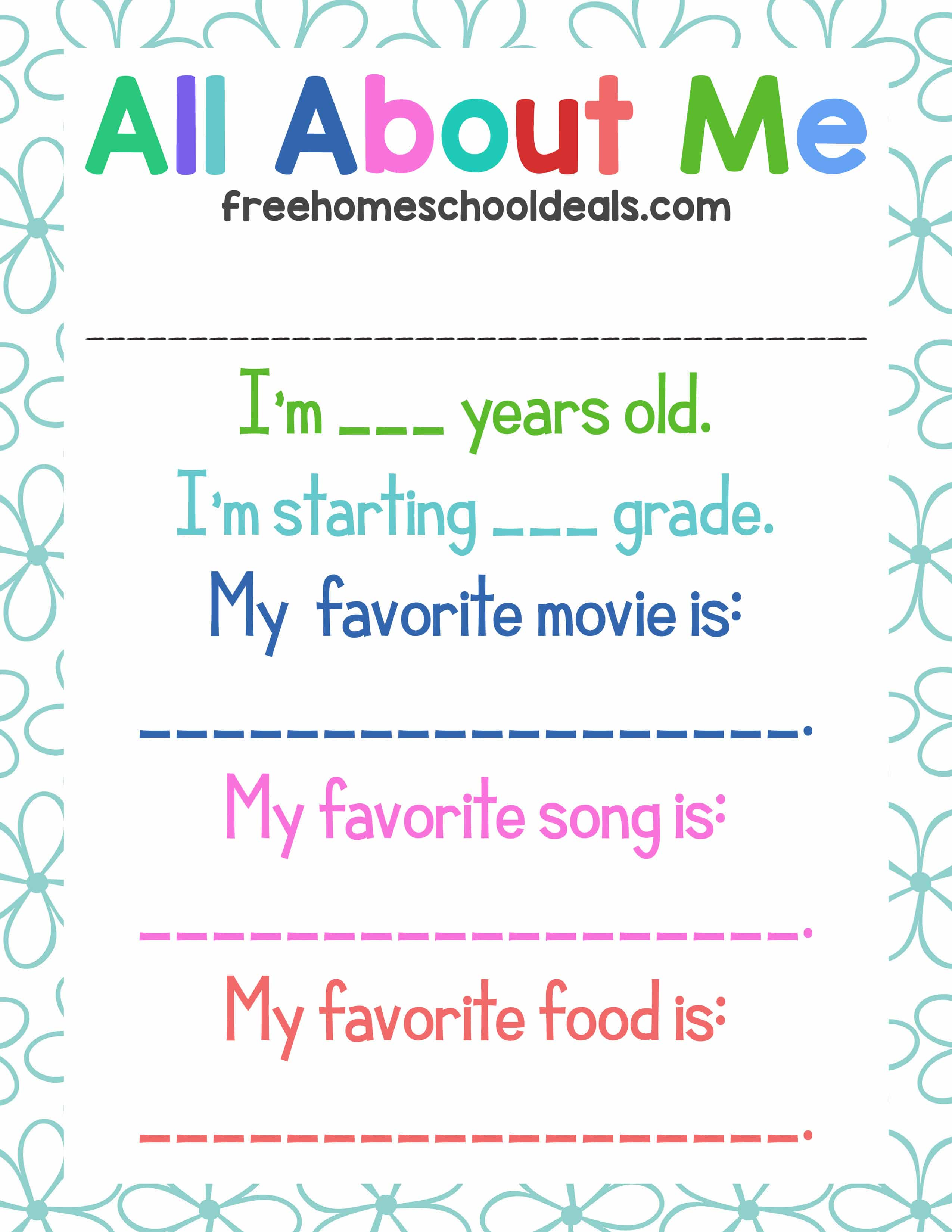 Free All About Me Printable Instant Download