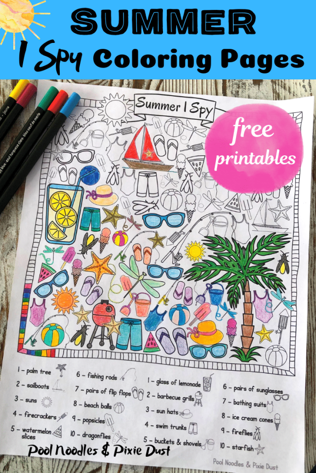 FREE Summer I Spy Coloring Pages  Free Homeschool Deals ©