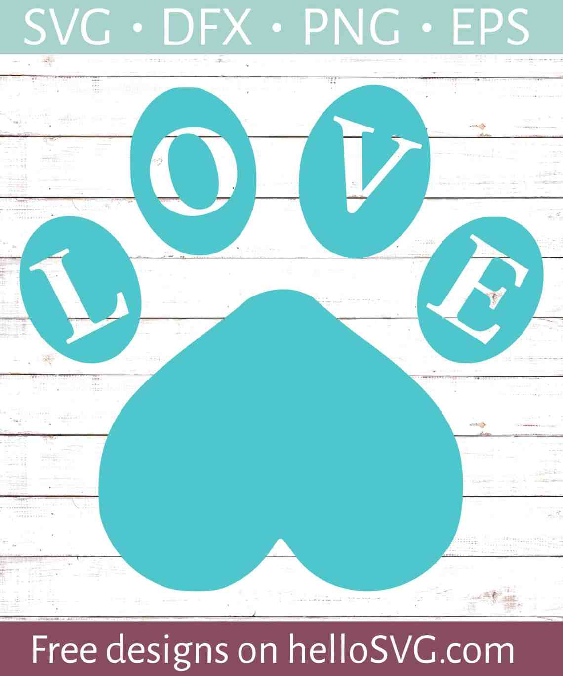 Download LOVE with Paw Print #2 SVG - Free SVG files | HelloSVG.com