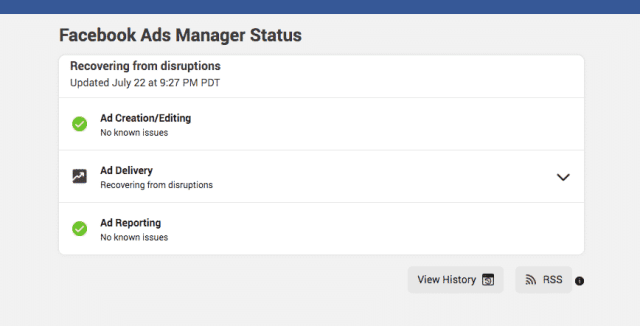 Facebook Ads Manager status tool update