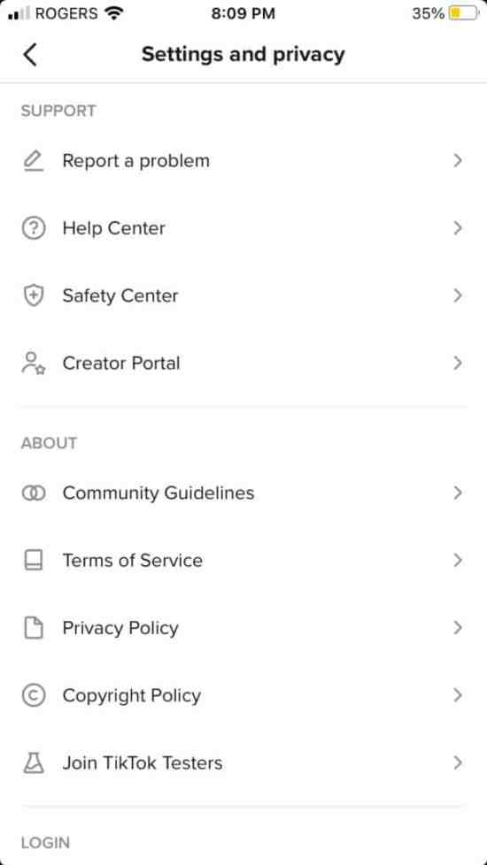 Settings and privacy on TikTok