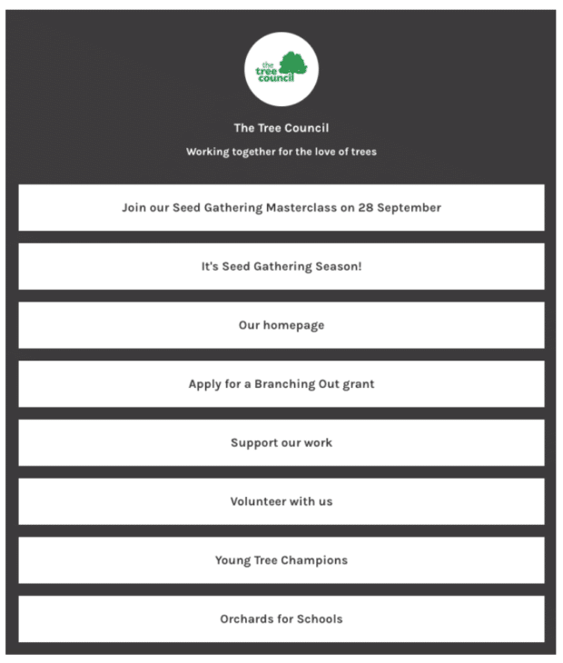 The Tree Council landing page with multiple links