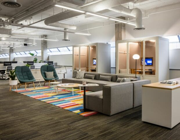 Collaboration space in the Hootsuite Vancouver office