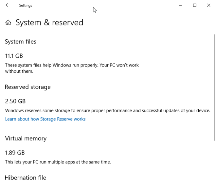 Reduce reserved storage size in Windows 10
