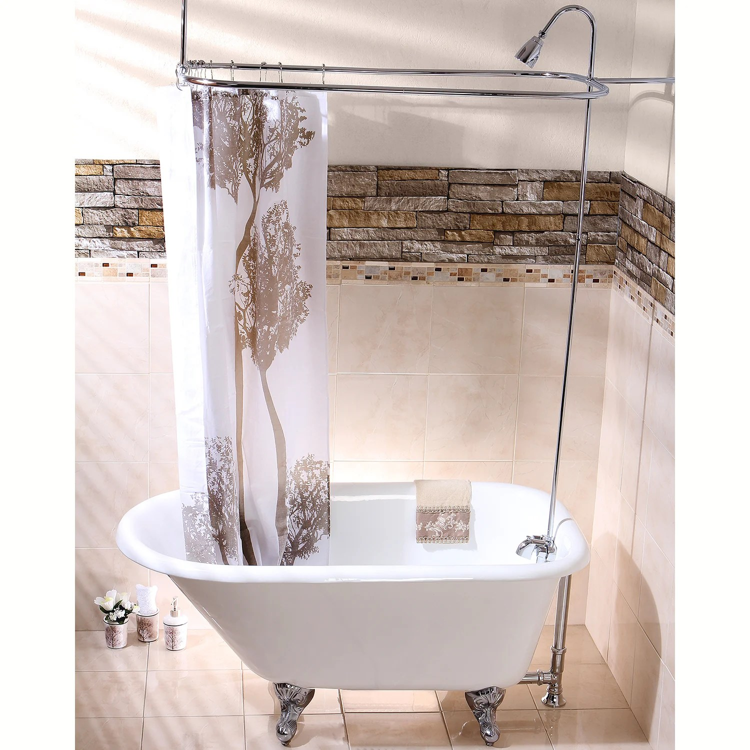Aqua Eden Vct3d543019nt1 54 Inch Cast Iron Roll Top Clawfoot Tub With 3 3 8 Inch Wall Drillings White Polished Chrome