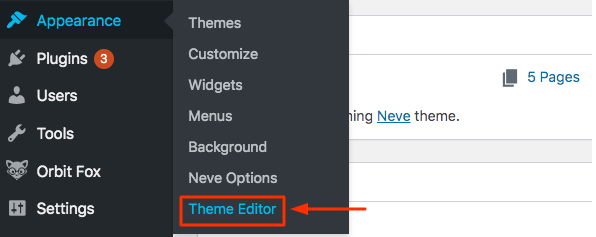 Theme Editor in Appearance Menu