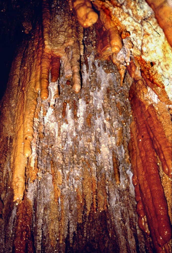 Colorful stalactites are found both inside and outside El Salto Cave.