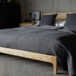Modern Embroidered Bedspread Dark Grey Natural Bed Company