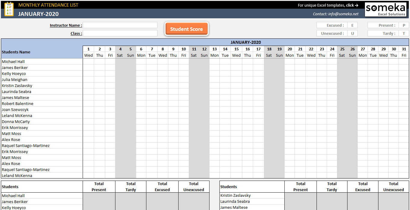 hight resolution of Attendance Sheet Template in Excel - Free Download