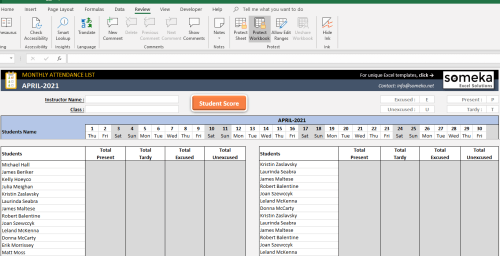 small resolution of Attendance Sheet Template in Excel - Free Download
