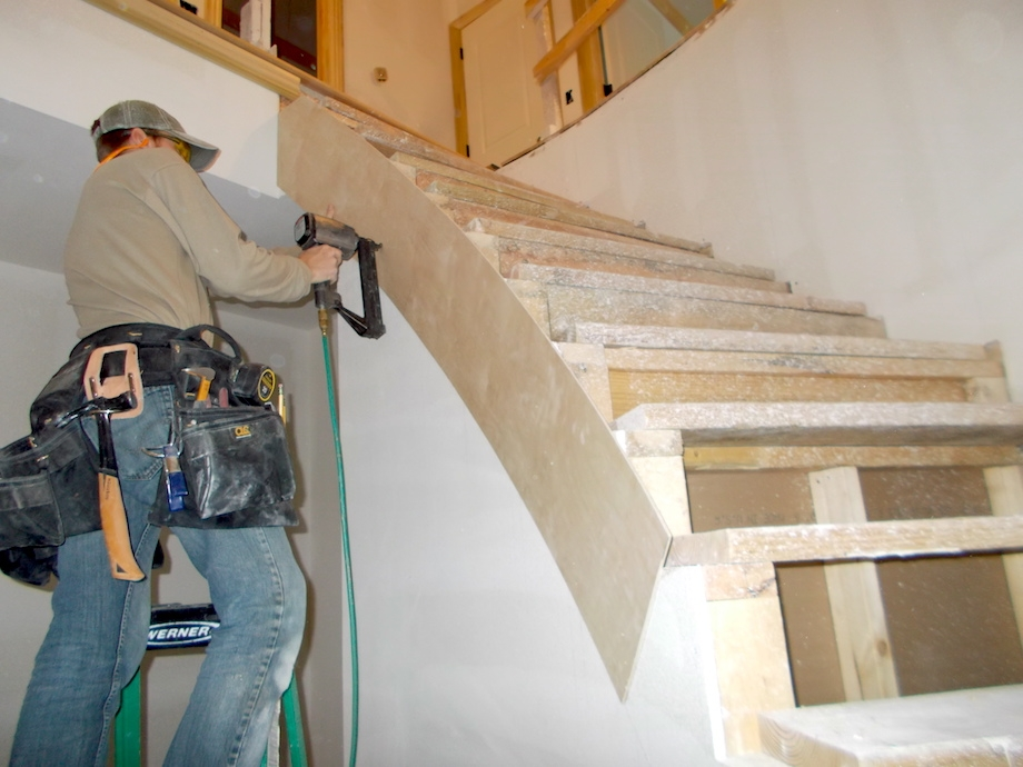 Curved Stairs Part Two Thisiscarpentry   Building A Curved Staircase   Indoor   36 Inch Diameter   Garage   Circular   Outside