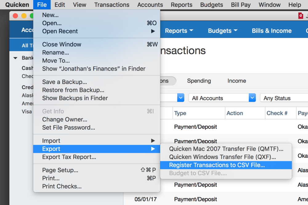 Export Quicken Transactions Final