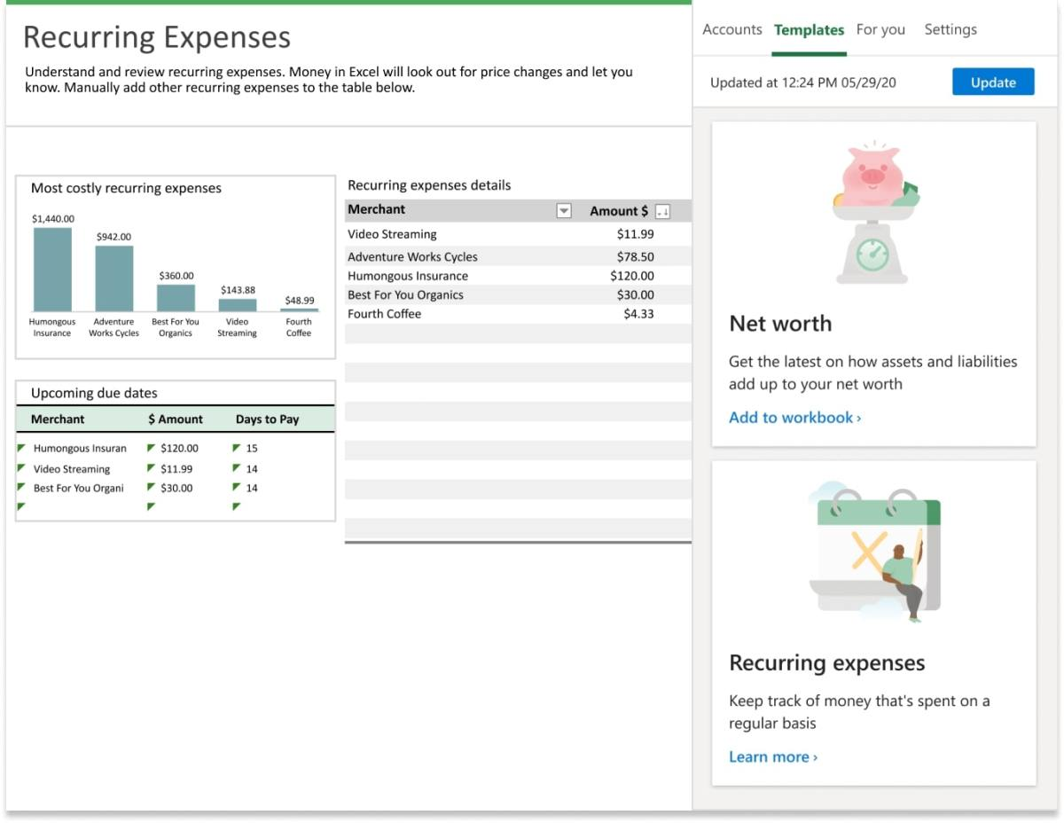 Net Worth Recurring Expenses Money In Excel