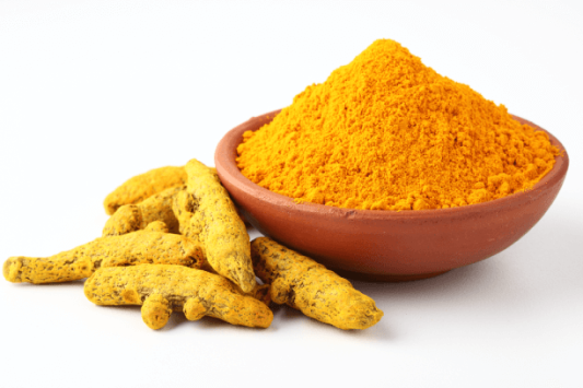 Image of raw haldi intact and in powder form