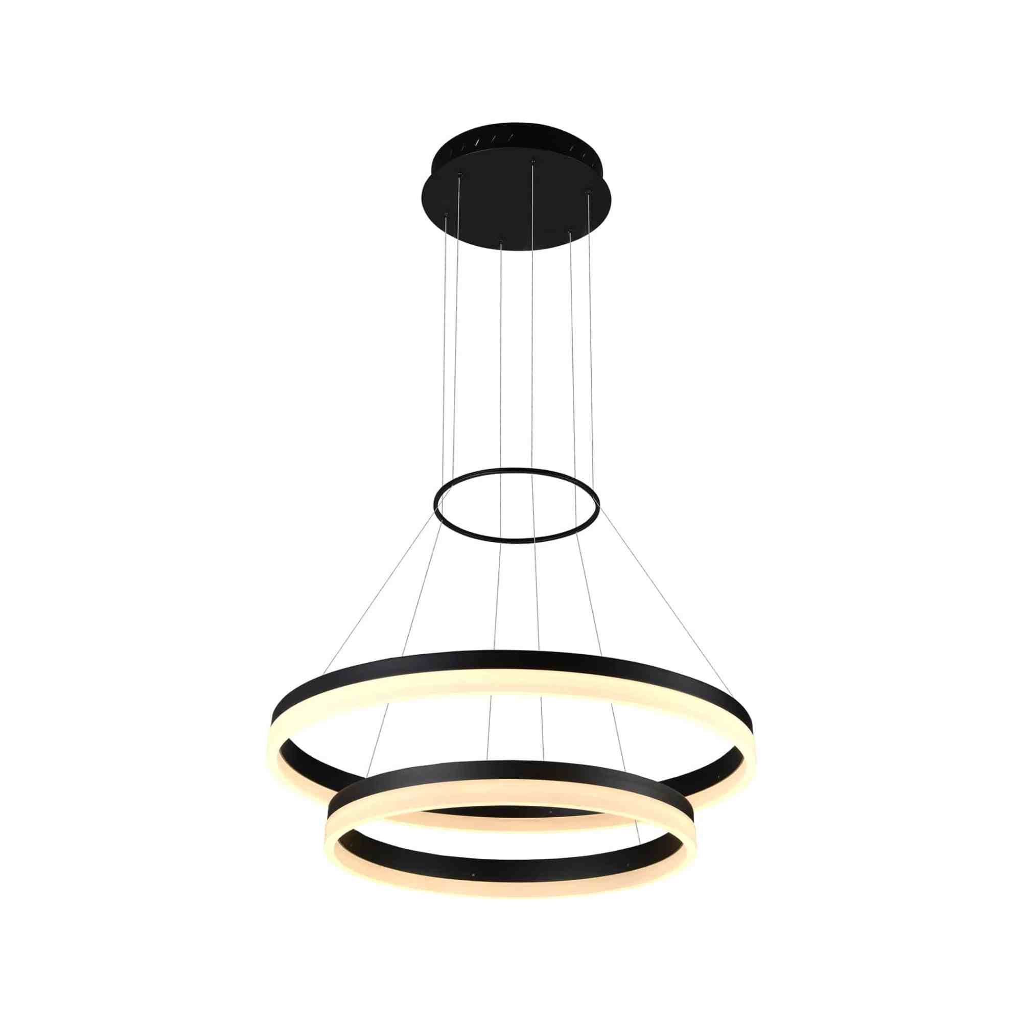 hight resolution of tania duo vmc31730bl 24 led chandelier adjustable suspension fixture modern two tier circular chandelier light in black