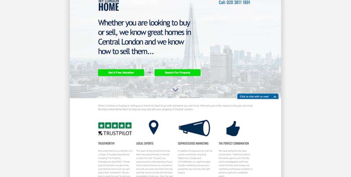 Real Estate Landing Page Examples - MyLondonHome
