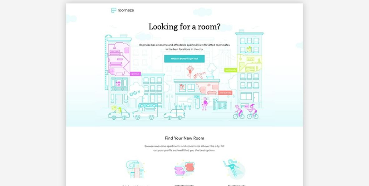 Real Estate Landing Page Examples - Roomeze