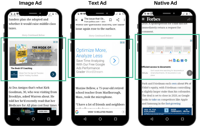Comparison of image, text, and native ads