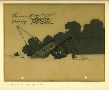 Winsor_McCay_(1918)_The_Sinking_of_the_Lusitania_cel_(Lusitania_rolling_over)