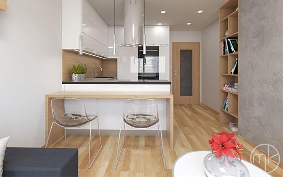 Velmi malý obývací pokoj s kuchyní