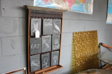 This is so unique and cute. Slate hung and used as a chalk board.