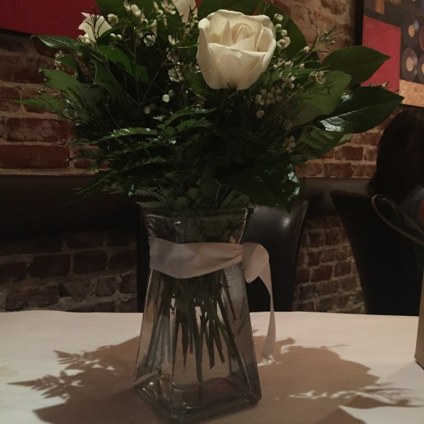 Roses on our table when we arrived for dinner