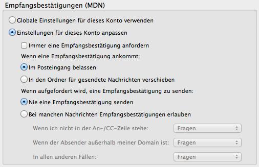 Konfiguration E-Mailprogramm: Empfangsbestätigungen