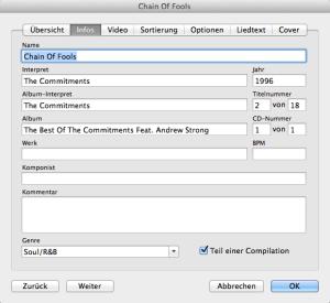 Manuelle Eingabe der Metadaten eines Musikstücks in iTunes