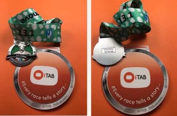 iTab medal insert for your MK Marathon or MK Half Marathon medal