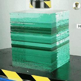 Hydraulic press vs layers of glass