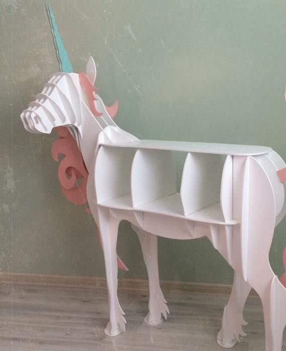 Digital project, large Unicorn floor shelf, for laser CNC and CNC milling. Vecto...