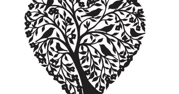 Tree Heart Birds Dxf file Silhouette - DXF DOWNLOADS - Files for Laser Cutting and CNC Router ArtCAM DXF Vectric Aspire VCarve MDF Crafts Woodworking
