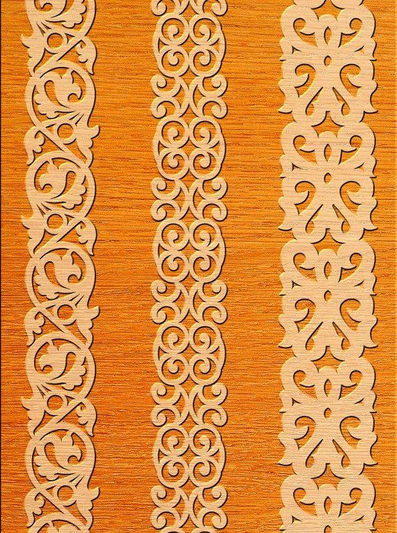 7 Border Cutting File for Laser, Cnc, plasma Floral Wall Stencil, Decorative Elegant Borders