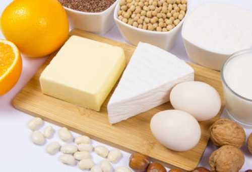 Food products containing a large amount of calcium isolated on w
