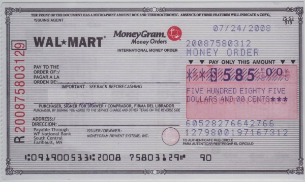 MoneyGram Money Order Sample