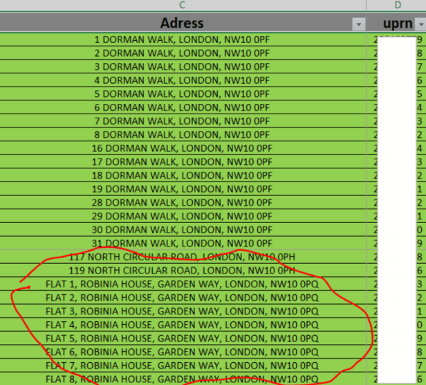 MS Excel wrong address list