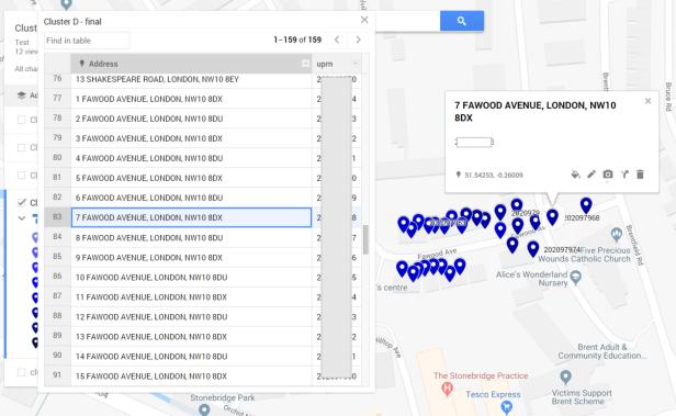Google MyMaps address list complete