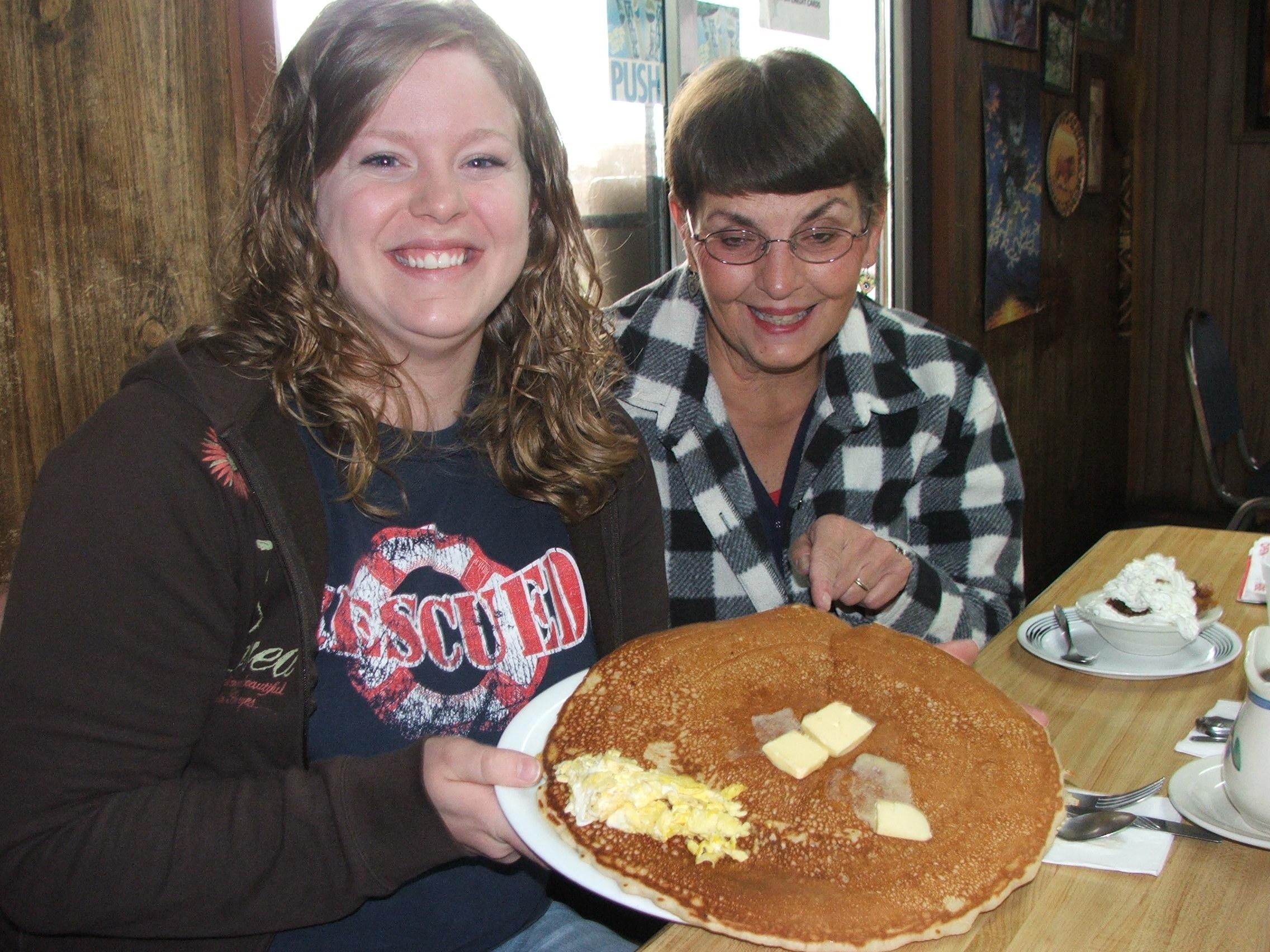 @ Shirley Mays Restaraunt - HUGE PANCAKE w/ tiny egg