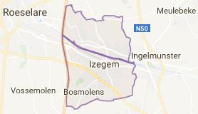 Kaart luchthavenvervoer in Izegem