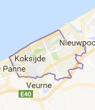 Kaart luchthavenvervoer in Koksijde