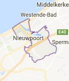 Kaart luchthavenvervoer in Nieuwpoort