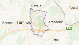Kaart luchthavenvervoer in Oud-Turnhout