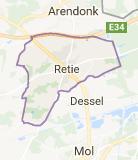 Kaart luchthavenvervoer in Retie