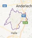 Kaart luchthavenvervoer in Sint-Pieters-Leeuw