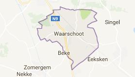 Kaart luchthavenvervoer in Waarschoot