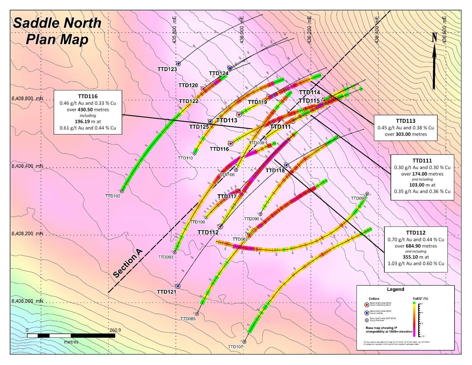hight resolution of gt gold initial results of saddle north phase one drilling demonstrate continuity of high grade cu au porphyry from surface 500 metres of 0 91 g t au