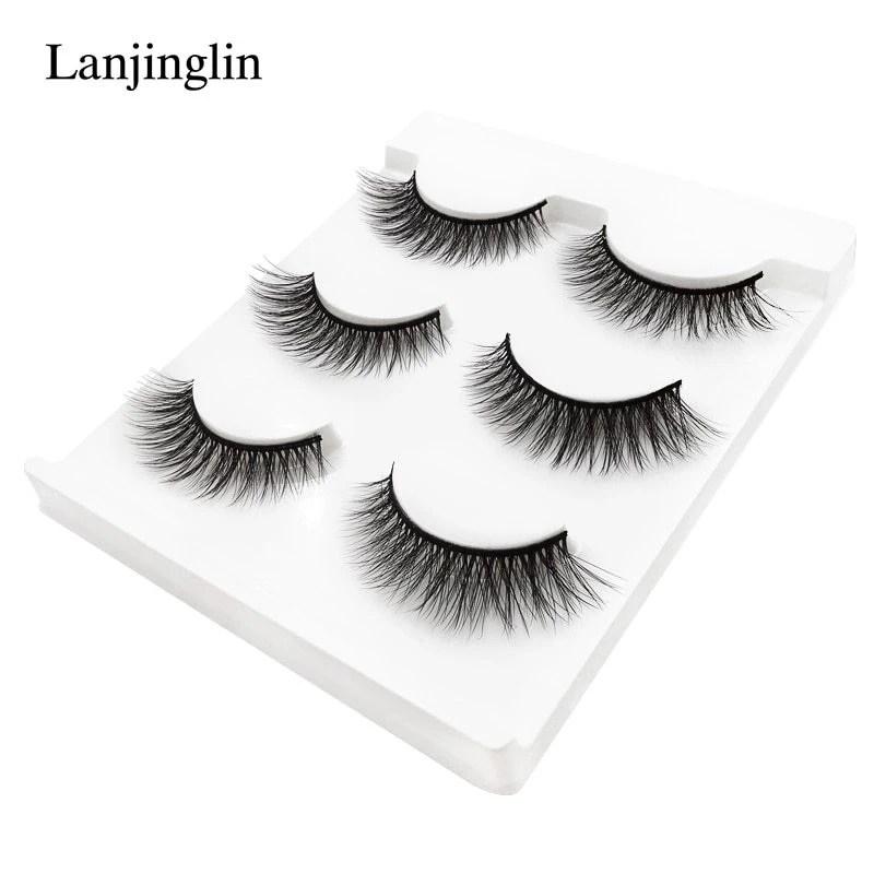 new 3 pairs mink eyelashes natural false eyelashes 3D mink